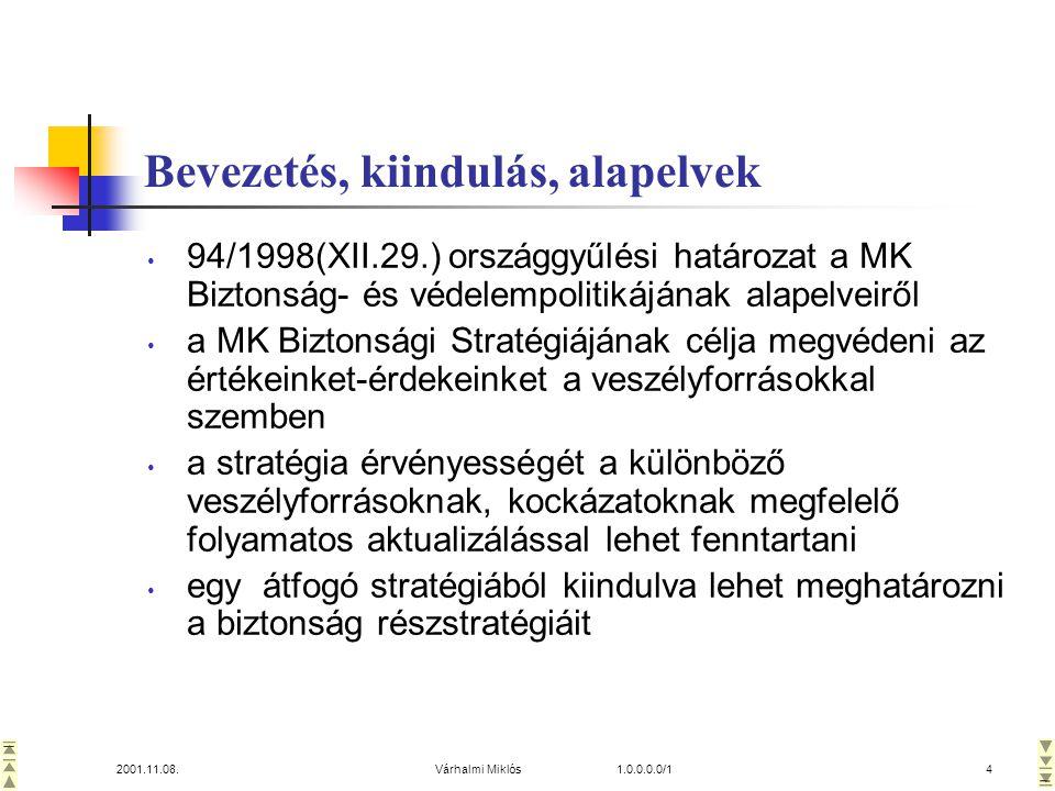 2001.11.08.Várhalmi Miklós 1.0.0.0.0/14 Bevezetés, kiindulás, alapelvek • 94/1998(XII.29.) országgyűlési határozat a MK Biztonság- és védelempolitikájának alapelveiről • a MK Biztonsági Stratégiájának célja megvédeni az értékeinket-érdekeinket a veszélyforrásokkal szemben • a stratégia érvényességét a különböző veszélyforrásoknak, kockázatoknak megfelelő folyamatos aktualizálással lehet fenntartani • egy átfogó stratégiából kiindulva lehet meghatározni a biztonság részstratégiáit