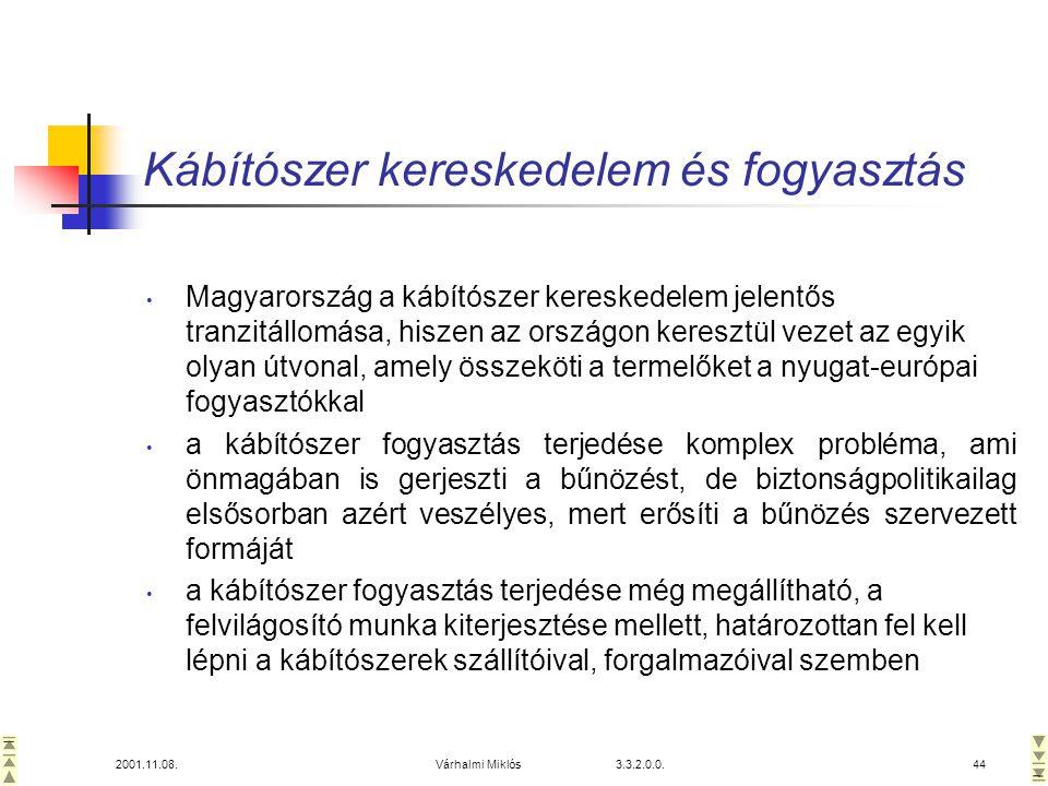 2001.11.08.Várhalmi Miklós 3.3.2.0.0.44 Kábítószer kereskedelem és fogyasztás • Magyarország a kábítószer kereskedelem jelentős tranzitállomása, hiszen az országon keresztül vezet az egyik olyan útvonal, amely összeköti a termelőket a nyugat-európai fogyasztókkal • a kábítószer fogyasztás terjedése komplex probléma, ami önmagában is gerjeszti a bűnözést, de biztonságpolitikailag elsősorban azért veszélyes, mert erősíti a bűnözés szervezett formáját • a kábítószer fogyasztás terjedése még megállítható, a felvilágosító munka kiterjesztése mellett, határozottan fel kell lépni a kábítószerek szállítóival, forgalmazóival szemben