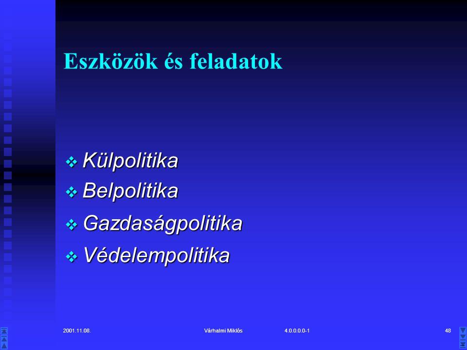 2001.11.08.Várhalmi Miklós 4.0.0.0.0-148 Eszközök és feladatok  Külpolitika  Belpolitika  Gazdaságpolitika  Védelempolitika