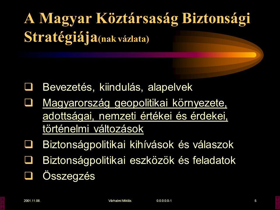 2001.11.08.Várhalmi Miklós 0.0.0.0.0-15 A Magyar Köztársaság Biztonsági Stratégiája (nak vázlata)  Bevezetés, kiindulás, alapelvek  Magyarország geopolitikai környezete, adottságai, nemzeti értékei és érdekei, történelmi változások  Biztonságpolitikai kihívások és válaszok  Biztonságpolitikai eszközök és feladatok  Összegzés