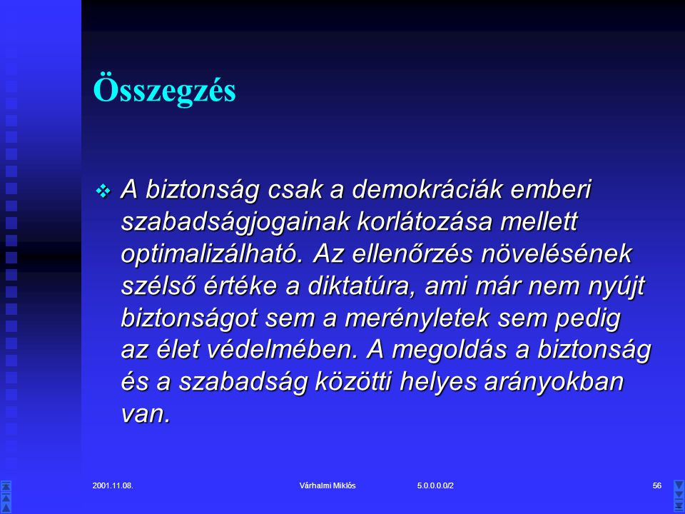2001.11.08.Várhalmi Miklós 5.0.0.0.0/256 Összegzés  A biztonság csak a demokráciák emberi szabadságjogainak korlátozása mellett optimalizálható.