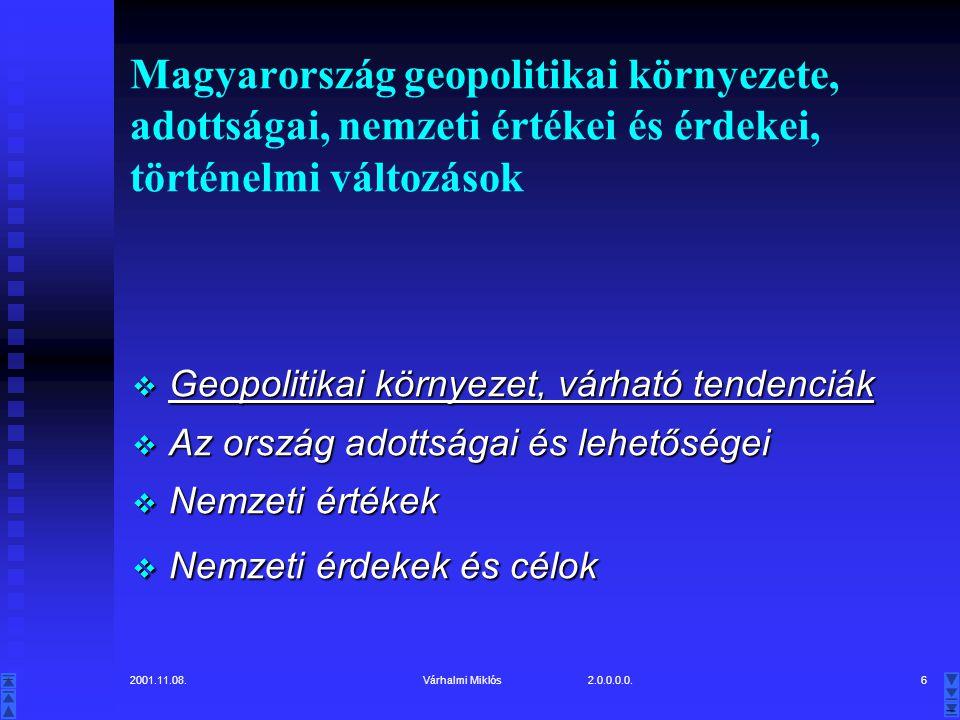 2001.11.08.Várhalmi Miklós 2.0.0.0.0.6 Magyarország geopolitikai környezete, adottságai, nemzeti értékei és érdekei, történelmi változások  Geopolitikai környezet, várható tendenciák  Az ország adottságai és lehetőségei  Nemzeti értékek  Nemzeti érdekek és célok