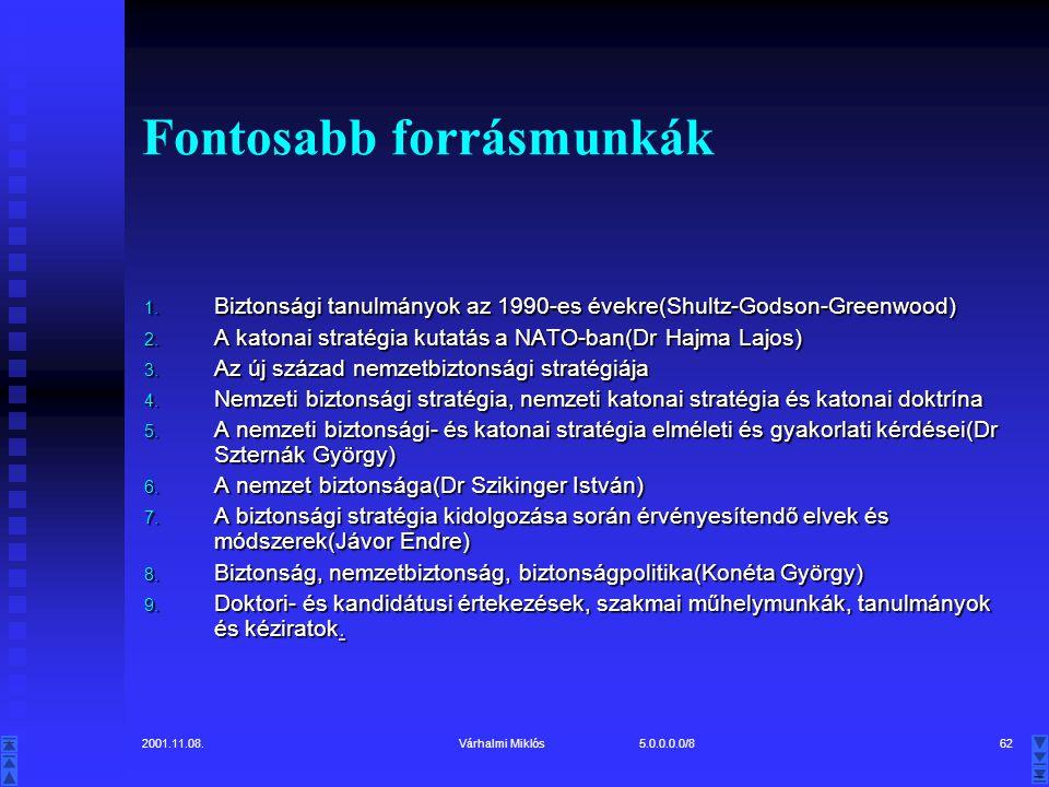 2001.11.08.Várhalmi Miklós 5.0.0.0.0/862 Fontosabb forrásmunkák 1.