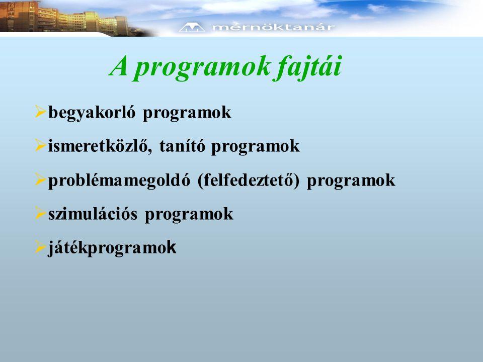 A programok fajtái  begyakorló programok  ismeretközlő, tanító programok  problémamegoldó (felfedeztető) programok  szimulációs programok  játékp