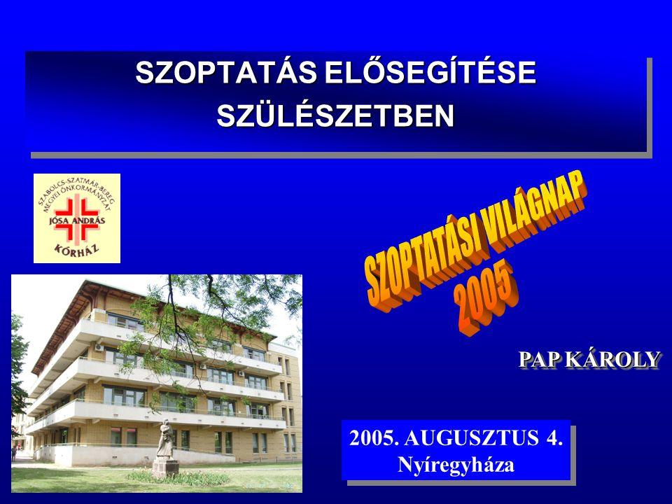 SZOPTATÁS ELŐSEGÍTÉSE SZÜLÉSZETBEN SZÜLÉSZETBEN PAP KÁROLY 2005.
