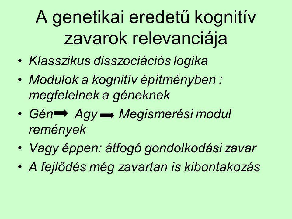 A genetikai eredetű kognitív zavarok relevanciája •Klasszikus disszociációs logika •Modulok a kognitív építményben : megfelelnek a géneknek •Gén Agy M