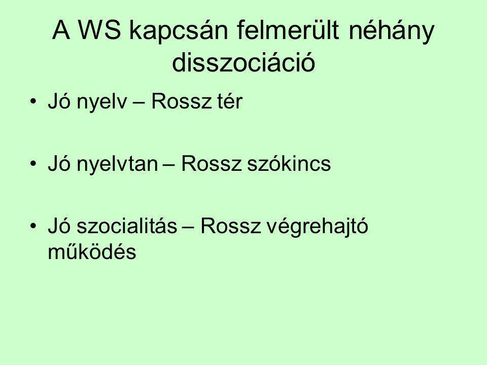 A WS kapcsán felmerült néhány disszociáció •Jó nyelv – Rossz tér •Jó nyelvtan – Rossz szókincs •Jó szocialitás – Rossz végrehajtó működés