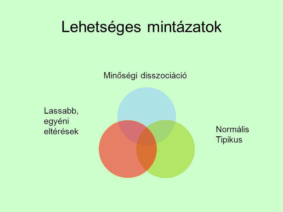 Eredményeink típusai Disszociáció: Téri megismerés Lassulás, egyéni eltérés Tipikussal azonos Vizuális emlékezet SzótanulásTársas támpont a szókincsben Téri tanulásTéri nyelvNyelvtani szabályok