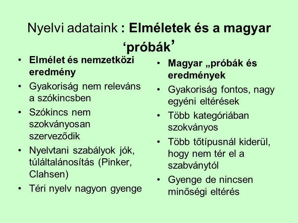 Nyelvi adataink : Elméletek és a magyar 'próbák ' •Elmélet és nemzetközi eredmény •Gyakoriság nem releváns a szókincsben •Szókincs nem szokványosan sz