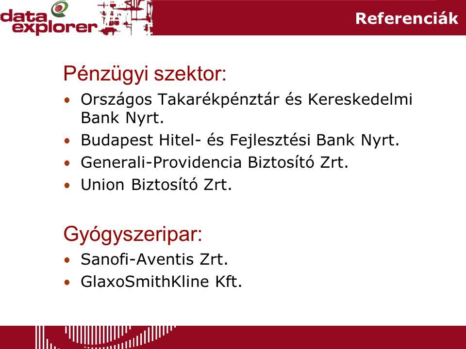 Referenciák Pénzügyi szektor: • Országos Takarékpénztár és Kereskedelmi Bank Nyrt.