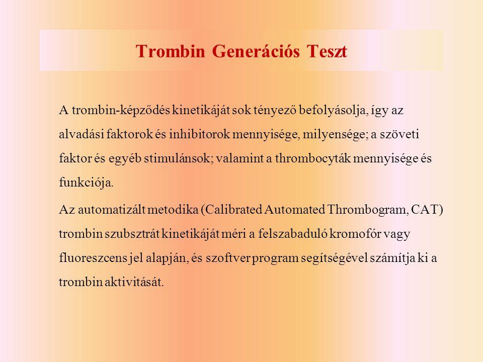 Trombin Generációs Teszt A trombin-képződés kinetikáját sok tényező befolyásolja, így az alvadási faktorok és inhibitorok mennyisége, milyensége; a sz