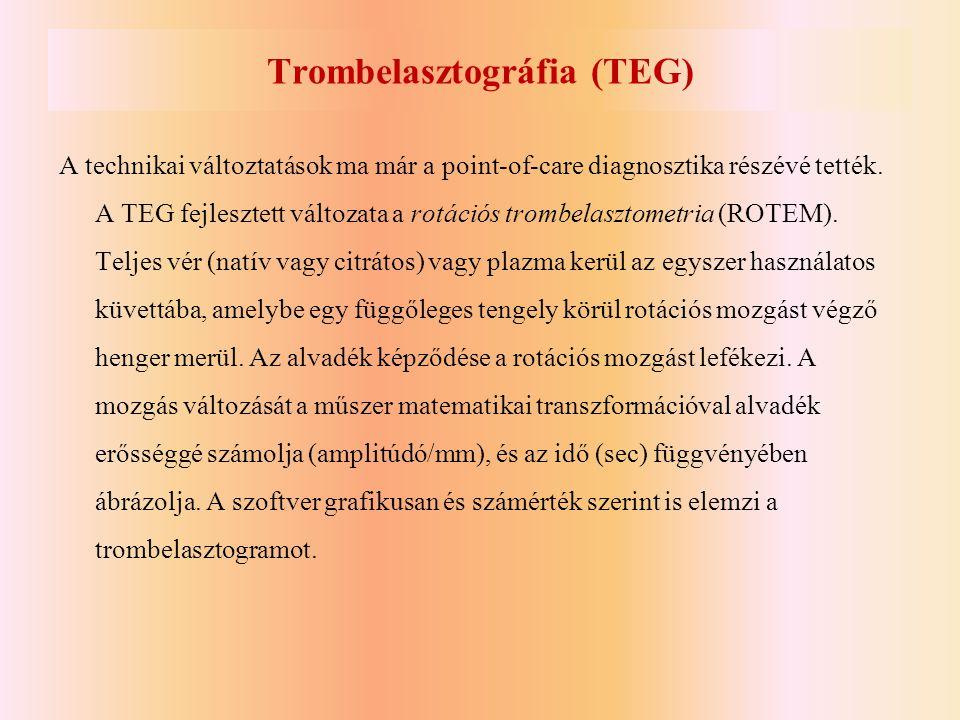 Trombelasztográfia (TEG) A technikai változtatások ma már a point-of-care diagnosztika részévé tették. A TEG fejlesztett változata a rotációs trombela