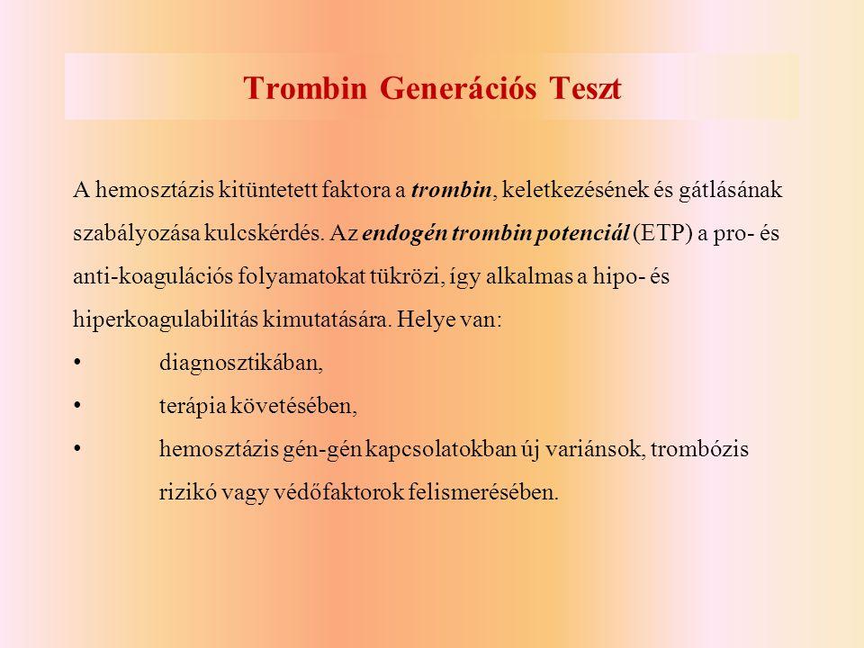 Trombin Generációs Teszt A hemosztázis kitüntetett faktora a trombin, keletkezésének és gátlásának szabályozása kulcskérdés. Az endogén trombin potenc