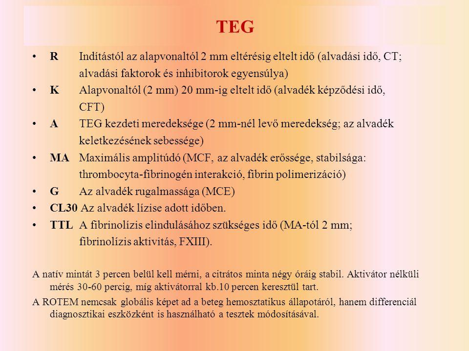 TEG •R Indítástól az alapvonaltól 2 mm eltérésig eltelt idő (alvadási idő, CT; alvadási faktorok és inhibitorok egyensúlya) •KAlapvonaltól (2 mm) 20 m