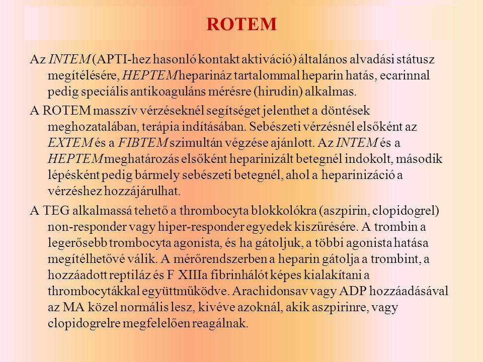 ROTEM Az INTEM (APTI-hez hasonló kontakt aktiváció) általános alvadási státusz megítélésére, HEPTEM heparináz tartalommal heparin hatás, ecarinnal ped