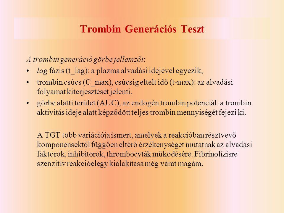 Trombin Generációs Teszt A trombin generáció görbe jellemzői: •lag fázis (t_lag): a plazma alvadási idejével egyezik, •trombin csúcs (C_max), csúcsig
