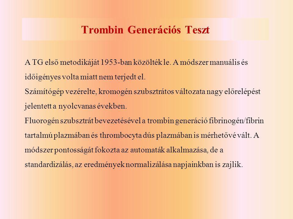Trombin Generációs Teszt A TG első metodikáját 1953-ban közölték le. A módszer manuális és időigényes volta miatt nem terjedt el. Számítógép vezérelte