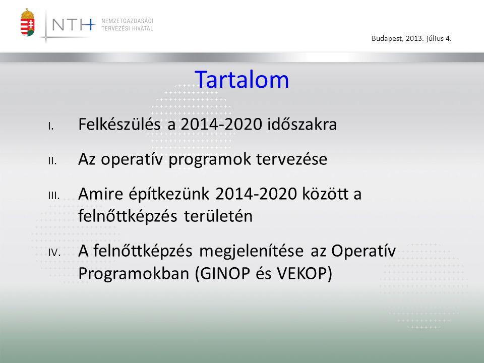 Budapest, 2013. július 4. Tartalom I. Felkészülés a 2014-2020 időszakra II.