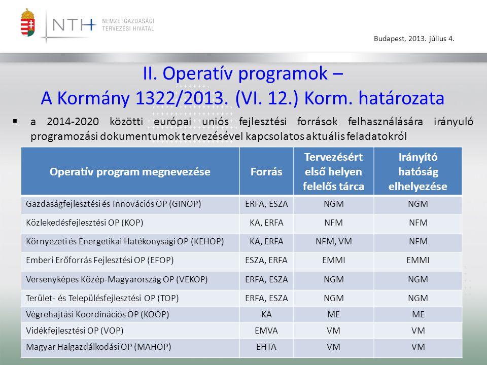 Budapest, 2013. július 4. II. Operatív programok – A Kormány 1322/2013.