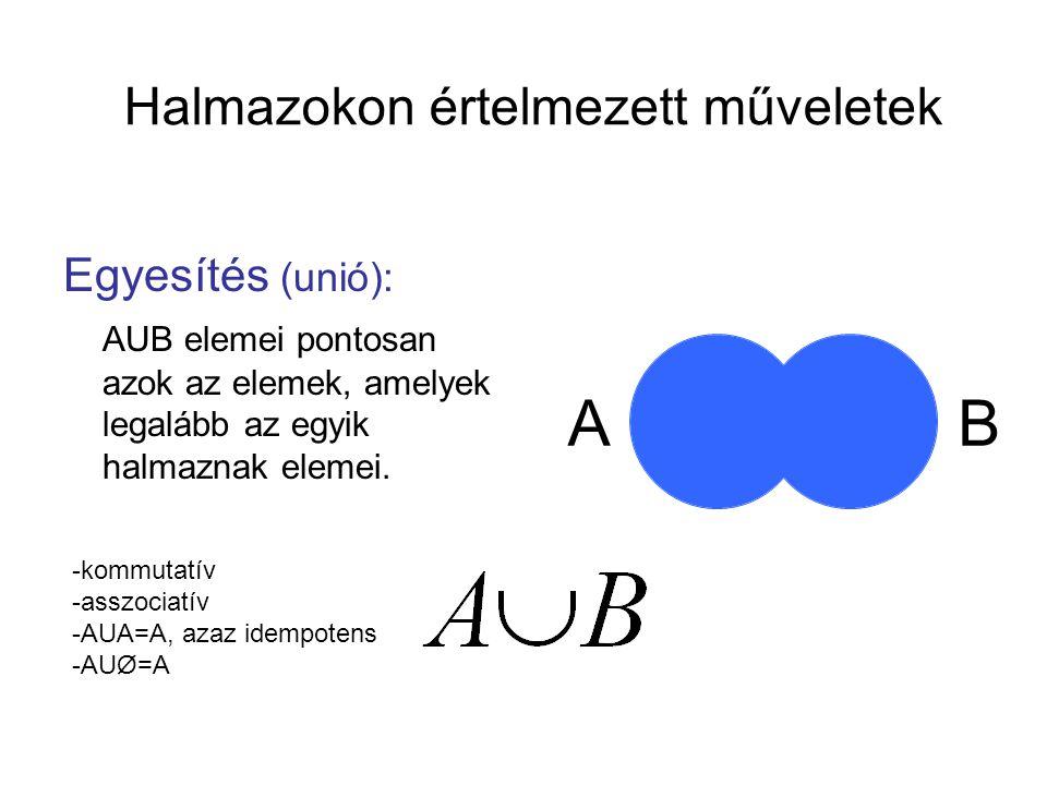 Halmazokon értelmezett műveletek Egyesítés (unió): AUB elemei pontosan azok az elemek, amelyek legalább az egyik halmaznak elemei. AB -kommutatív -ass