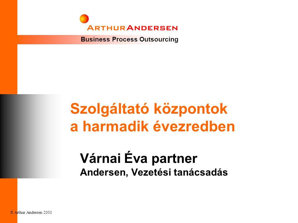 Business Process Outsourcing © Arthur Andersen 2001 Szolgáltató központok a harmadik évezredben Várnai Éva partner Andersen, Vezetési tanácsadás
