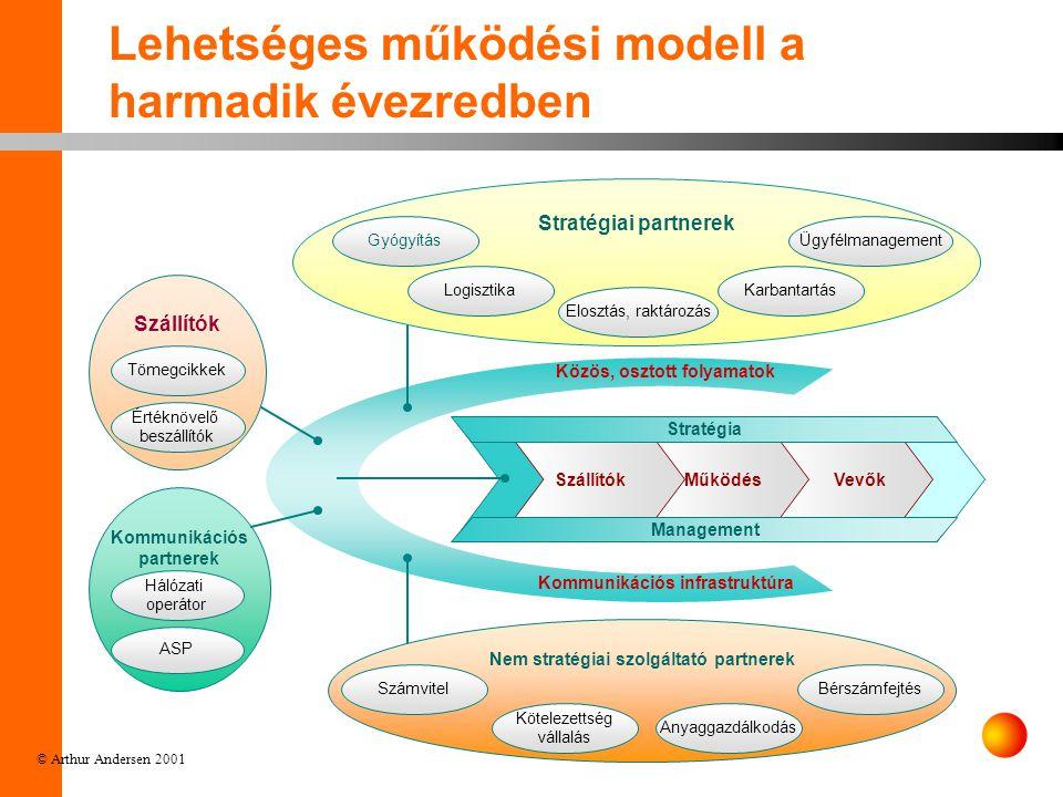 © Arthur Andersen 2001 Szállítók Nem stratégiai szolgáltató partnerek Kommunikációs partnerek Lehetséges működési modell a harmadik évezredben Tömegcikkek Értéknövelő beszállítók Hálózati operátor ASP Kommunikációs infrastruktúra Közös, osztott folyamatok Anyaggazdálkodás BérszámfejtésSzámvitel Kötelezettség vállalás Stratégiai partnerek Gyógyítás Elosztás, raktározás KarbantartásLogisztika Ügyfélmanagement Vevők Működés Szállítók Management Stratégia