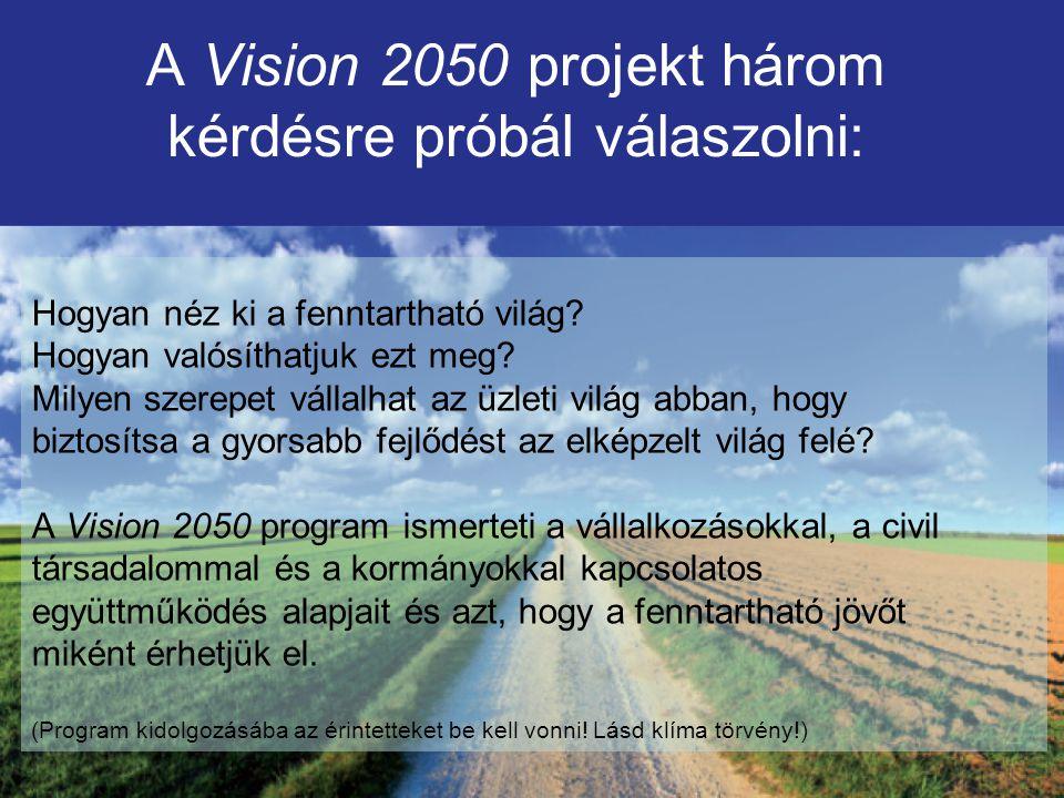A Vision 2050 projekt három kérdésre próbál válaszolni: Hogyan néz ki a fenntartható világ.