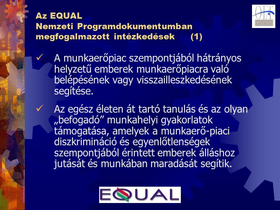 Az EQUAL Nemzeti Programdokumentumban megfogalmazott intézkedések (1)  A munkaerőpiac szempontjából hátrányos helyzetű emberek munkaerőpiacra való be