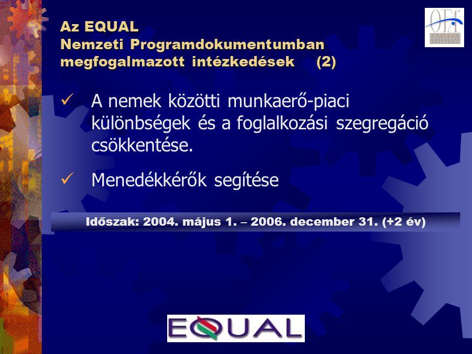 Az EQUAL Nemzeti Programdokumentumban megfogalmazott intézkedések (2)  A nemek közötti munkaerő-piaci különbségek és a foglalkozási szegregáció csökkentése.