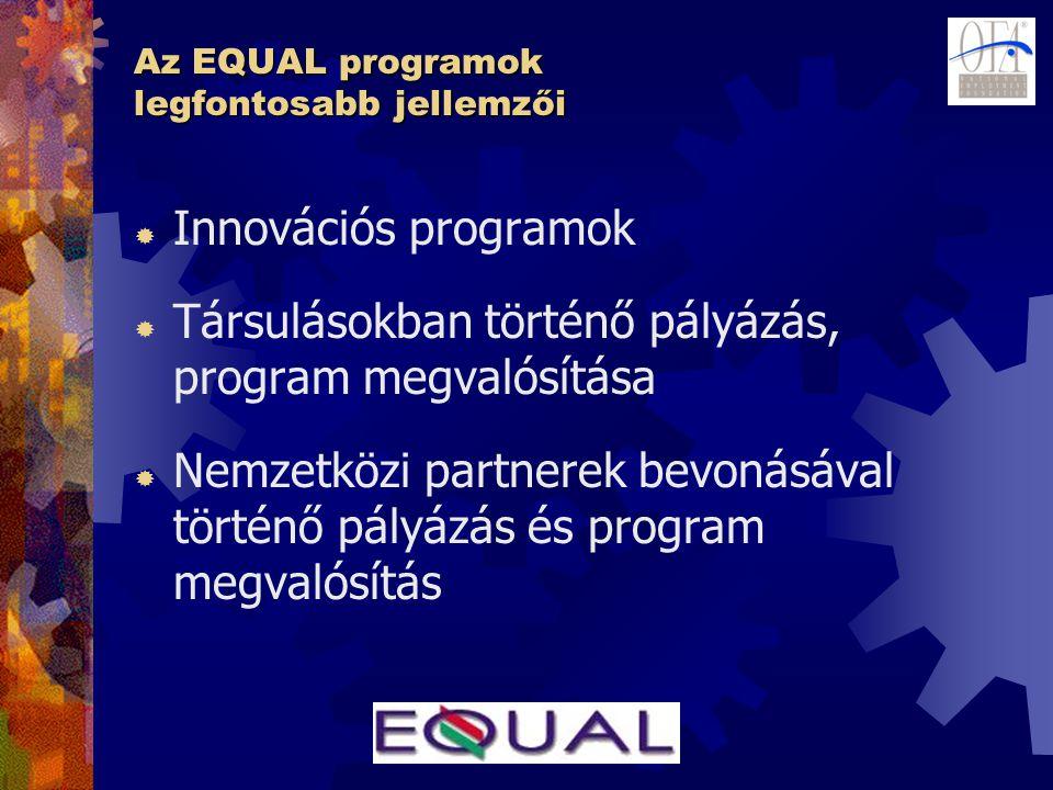 Az EQUAL programok legfontosabb jellemzői  Innovációs programok  Társulásokban történő pályázás, program megvalósítása  Nemzetközi partnerek bevoná