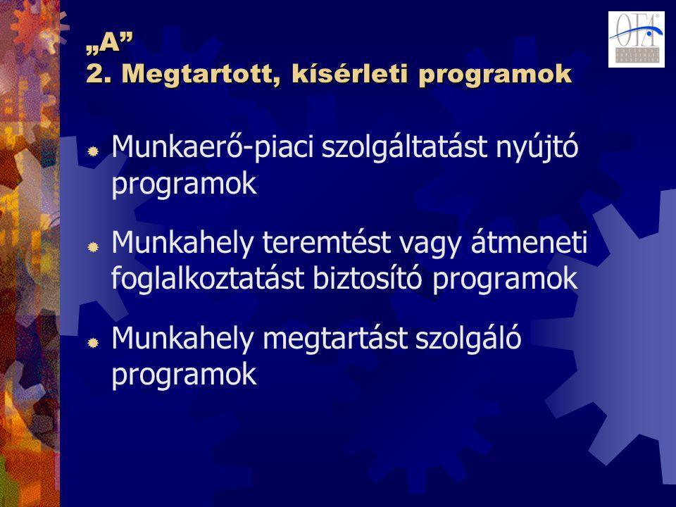 """""""A"""" 2. Megtartott, kísérleti programok  Munkaerő-piaci szolgáltatást nyújtó programok  Munkahely teremtést vagy átmeneti foglalkoztatást biztosító p"""