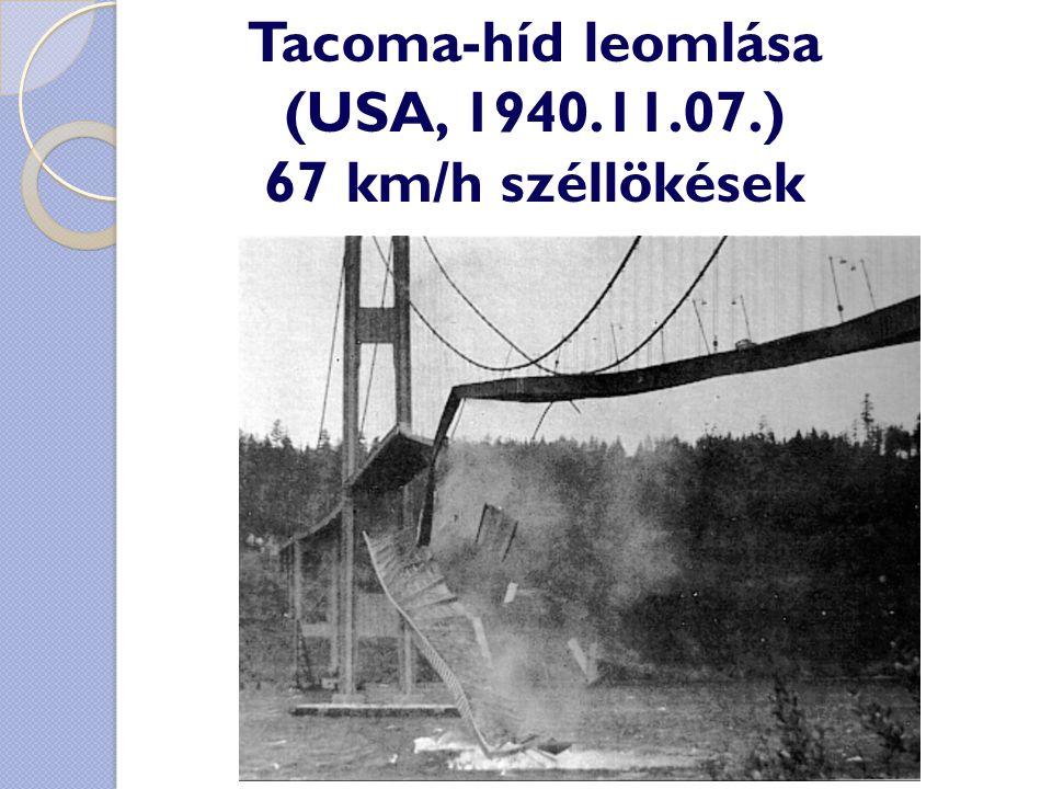 Tacoma-híd leomlása (USA, 1940.11.07.) 67 km/h széllökések