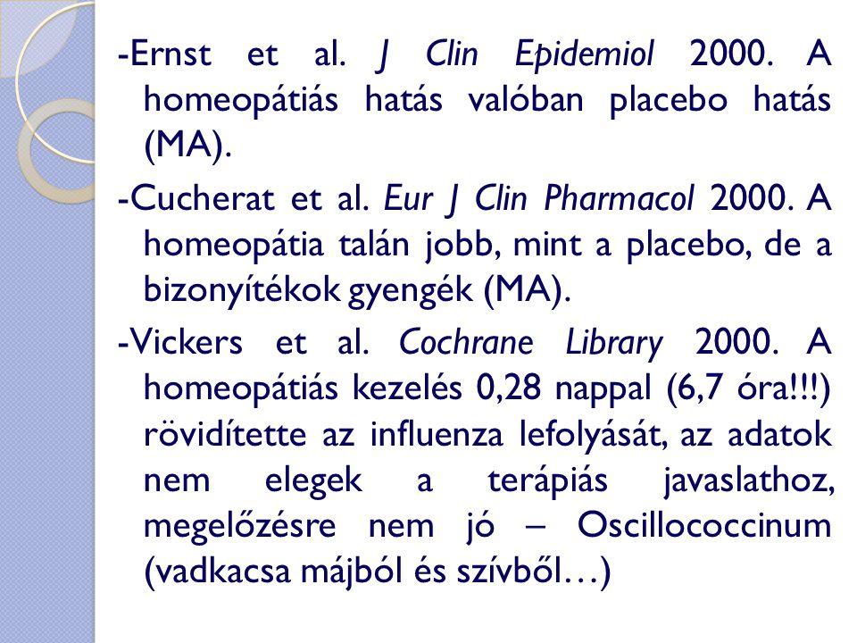 -Ernst et al. J Clin Epidemiol 2000. A homeopátiás hatás valóban placebo hatás (MA). -Cucherat et al. Eur J Clin Pharmacol 2000. A homeopátia talán jo