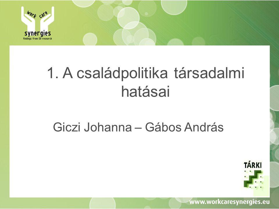 1. A családpolitika társadalmi hatásai Giczi Johanna – Gábos András