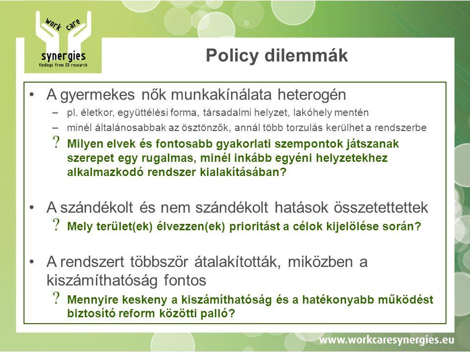 Policy dilemmák •A gyermekes nők munkakínálata heterogén –pl. életkor, együttélési forma, társadalmi helyzet, lakóhely mentén –minél általánosabbak az
