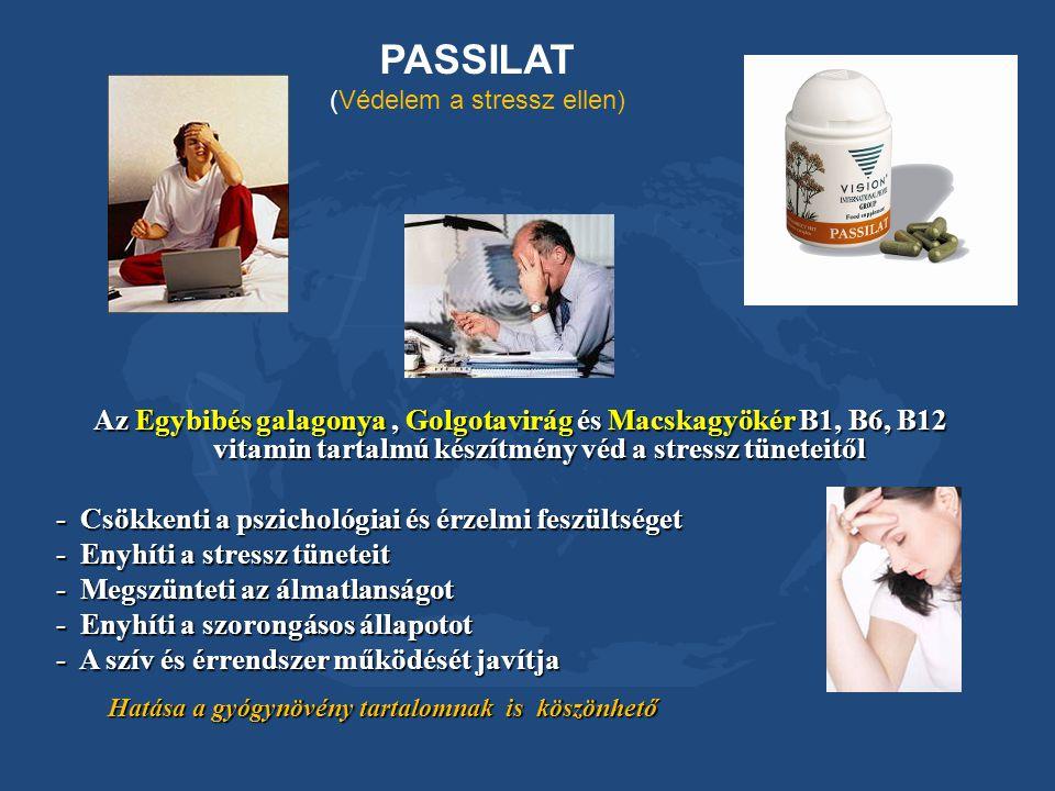 PASSILAT (Védelem a stressz ellen) Az Egybibés galagonya, Golgotavirág és Macskagyökér B1, B6, B12 vitamin tartalmú készítmény véd a stressz tüneteitő