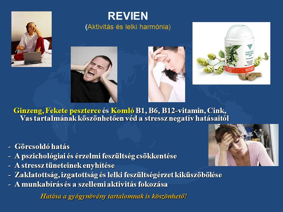 REVIEN (Aktivitás és lelki harmónia) Ginzeng, Fekete peszterce és Komló B1, B6, B12-vitamin, Cink, Vas tartalmának köszönhetően véd a stressz negatív