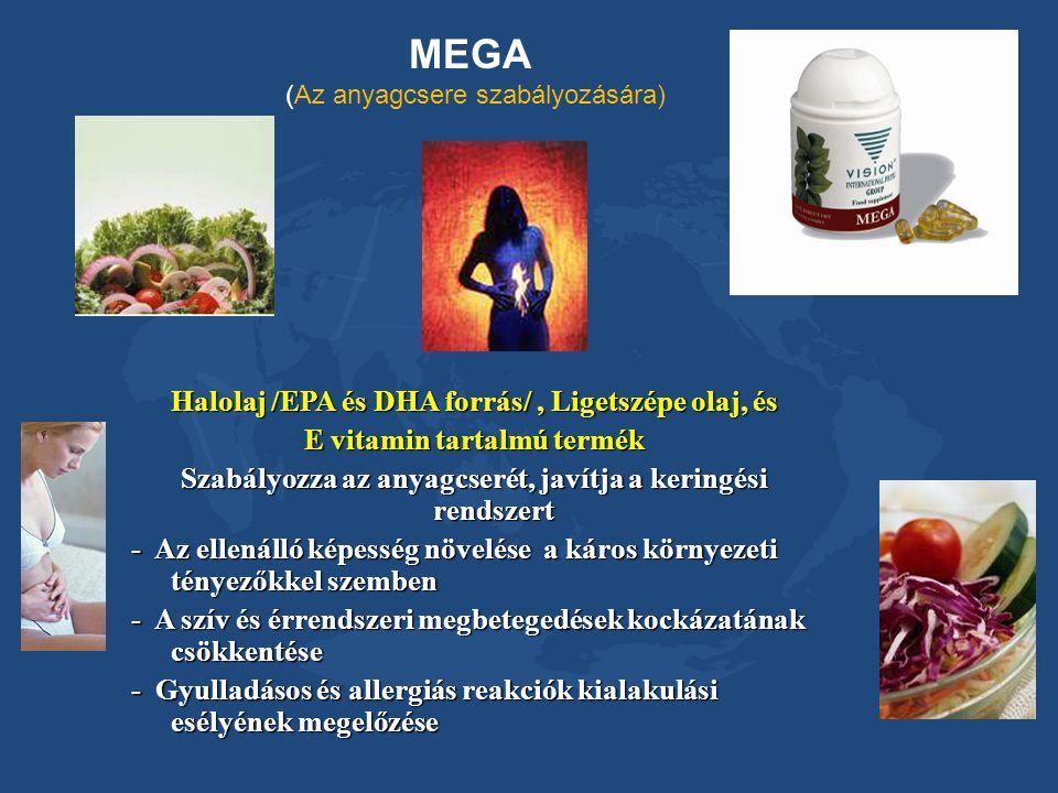 MEGA (Az anyagcsere szabályozására) Halolaj /EPA és DHA forrás/, Ligetszépe olaj, és E vitamin tartalmú termék Szabályozza az anyagcserét, javítja a k