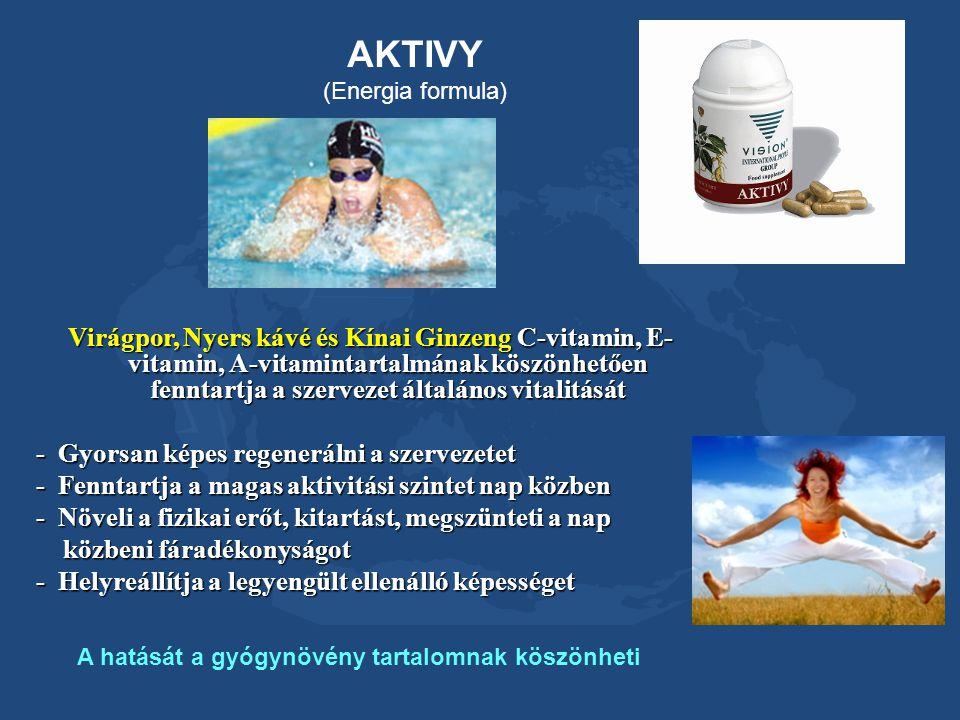 AKTIVY (Energia formula) Virágpor, Nyers kávé és Kínai Ginzeng C-vitamin, E- vitamin, A-vitamintartalmának köszönhetően fenntartja a szervezet általán
