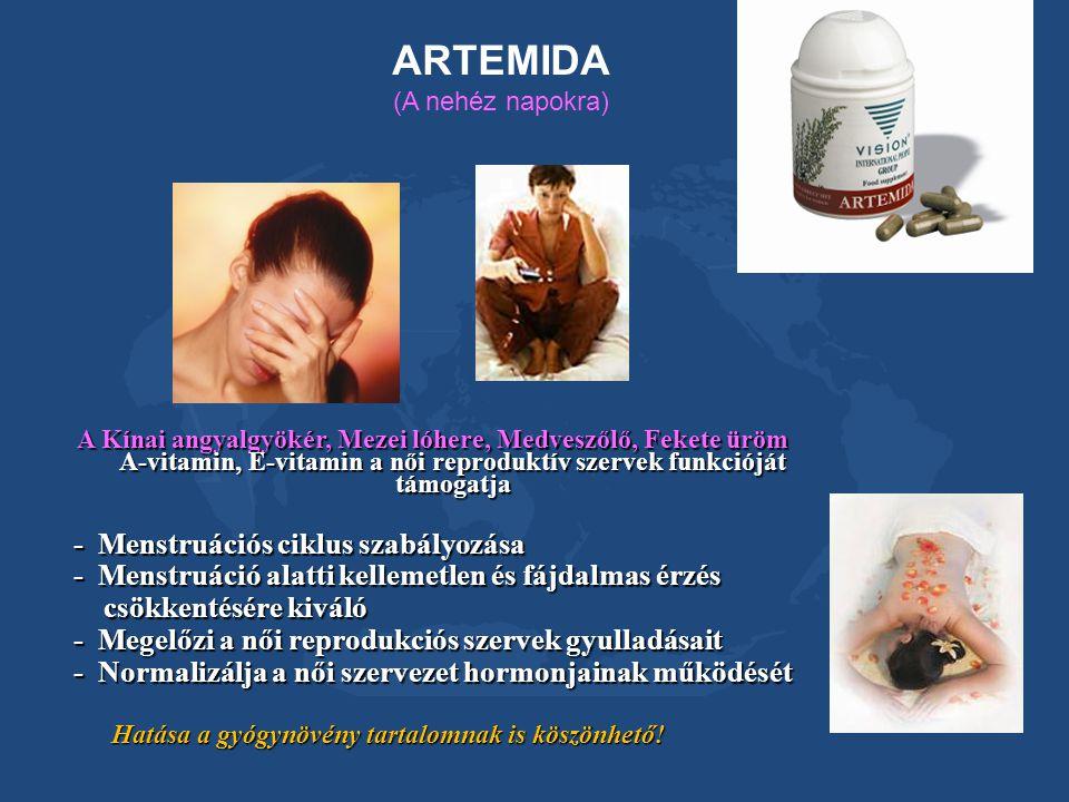 ARTEMIDA (A nehéz napokra) A Kínai angyalgyökér, Mezei lóhere, Medveszőlő, Fekete üröm A-vitamin, E-vitamin a női reproduktív szervek funkcióját támog