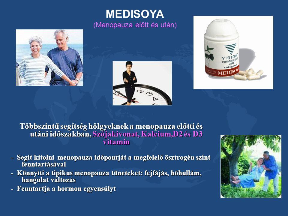 MEDISOYA (Menopauza előtt és után) Többszintű segítség hölgyeknek a menopauza előtti és utáni időszakban, Szójakivonat, Kalcium,D2 és D3 vitamin - Seg