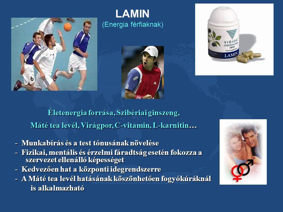 LAMIN (Energia férfiaknak) Életenergia forrása, Szibériai ginszeng, Máté tea levél, Virágpor, C-vitamin, L-karnitin… - Munkabírás és a test tónusának