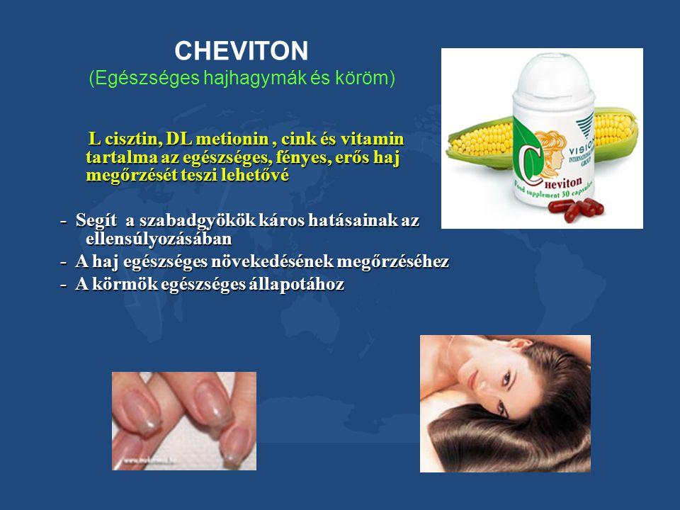 CHEVITON (Egészséges hajhagymák és köröm) L cisztin, DL metionin, cink és vitamin tartalma az egészséges, fényes, erős haj megőrzését teszi lehetővé L