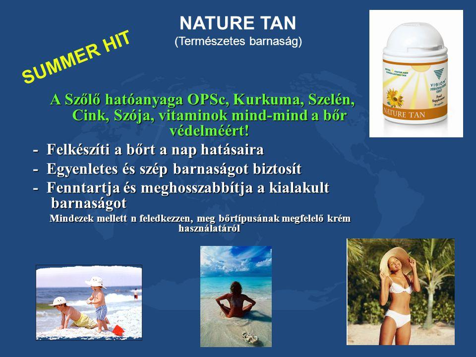 NATURE TAN (Természetes barnaság) SUMMER HIT A Szőlő hatóanyaga OPSc, Kurkuma, Szelén, Cink, Szója, vitaminok mind-mind a bőr védelméért! - Felkészíti
