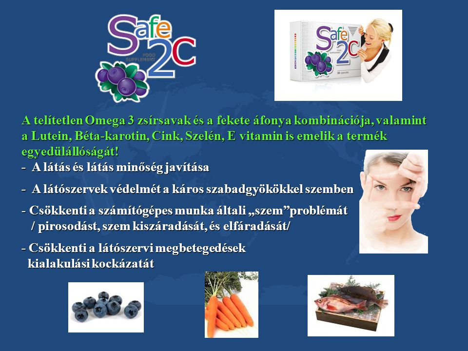 A telítetlen Omega 3 zsírsavak és a fekete áfonya kombinációja, valamint a Lutein, Béta-karotin, Cink, Szelén, E vitamin is emelik a termék egyedüláll