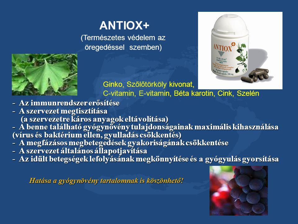 Ginko, Szőlőtörköly kivonat, C-vitamin, E-vitamin, Béta karotin, Cink, Szelén ANTIOX+ (Természetes védelem az öregedéssel szemben) - Az immunrendszer