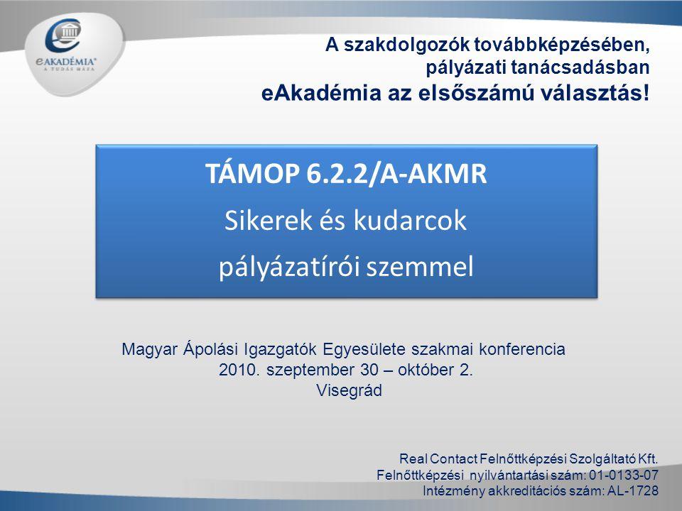 TÁMOP 6.2.2/A-AKMR Sikerek és kudarcok pályázatírói szemmel A szakdolgozók továbbképzésében, pályázati tanácsadásban eAkadémia az elsőszámú választás!