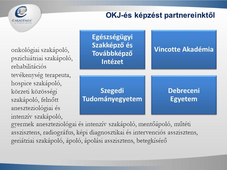 Egészségügyi Szakképző és Továbbképző Intézet Vincotte Akadémia Szegedi Tudományegyetem Debreceni Egyetem OKJ-és képzést partnereinktől onkológiai sza