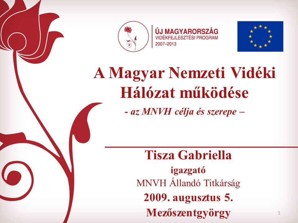 1 A Magyar Nemzeti Vidéki Hálózat működése - az MNVH célja és szerepe – Tisza Gabriella igazgató MNVH Állandó Titkárság 2009. augusztus 5. Mezőszentgy