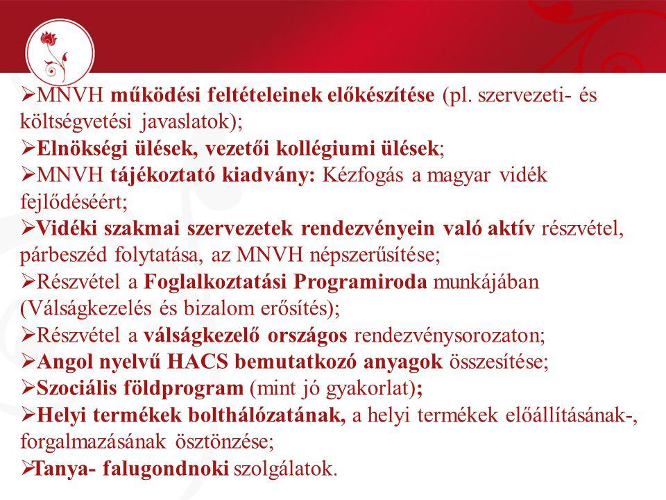  MNVH működési feltételeinek előkészítése (pl.
